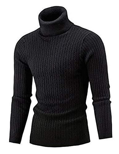 Aideaone Jersey de punto para hombre, cuello alto, cálido, básico, cuello alto Negro L