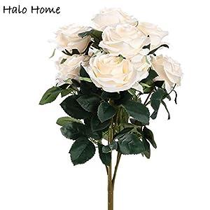 ShineBear 1 Bunch Silk Artificial Flower Roses Bouquet for Festival Office Party Home Garden Wedding Bride Memorial Day Decor 45cm
