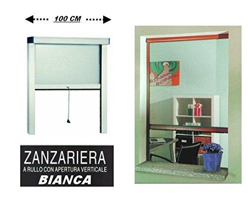 GrecoShop Zanzariera a Rullo in Alluminio per finestre con Profilo riducibile/Regolabile avvolgimento Verticale con Frizione 100x170cm Bianca