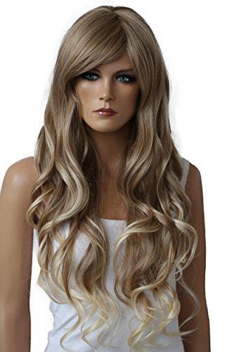PRETTYSHOP Unisexe Perruque Pleine Cheveux Longs Fibres Synthétiques Résistant à La Chaleur Ondulé Volumineux mélange blond # 27T613 FS836u