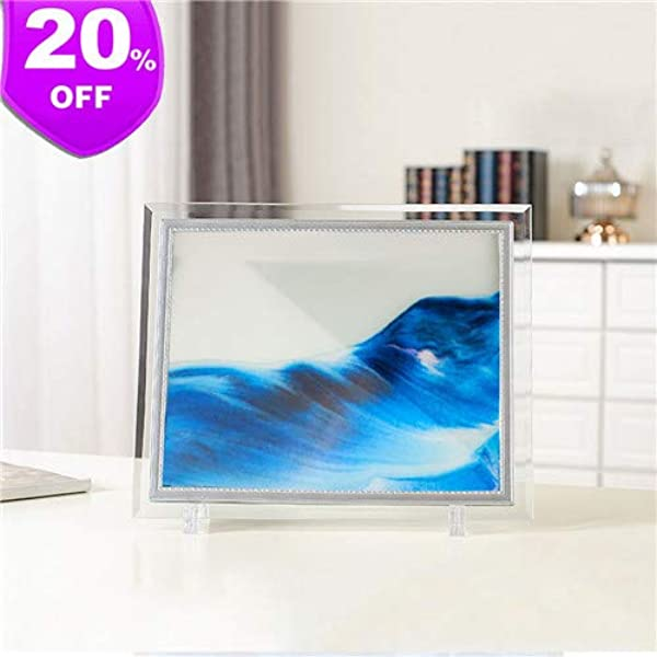 S SUPERLOVE Deep Sea Moving Sand Art Picture Sandscapes In Motion Office Desktop Art Decor Toys Blue 8 7 6 9 0 6 In