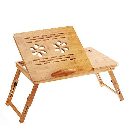 Bisofice mesa para portatil cama,Soporte de escritorio plegable de bambú para computadora,bandeja de cama para servir el desayuno,mesa de altura ajustable con cajón superior inclinable en 4 ángulos