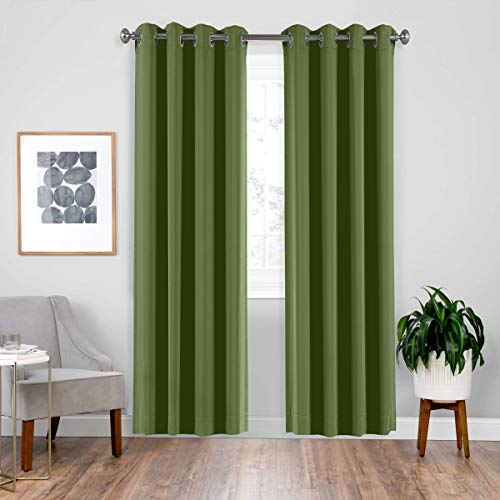 downluxe Window Curtains 84 Inch Length Bedroom Curtains Panels - Functional Privacy Protection Blackout Panels for Hall Room, Thermal Insulated(Set of 2, 52 x 84 Inches in Olive Green)