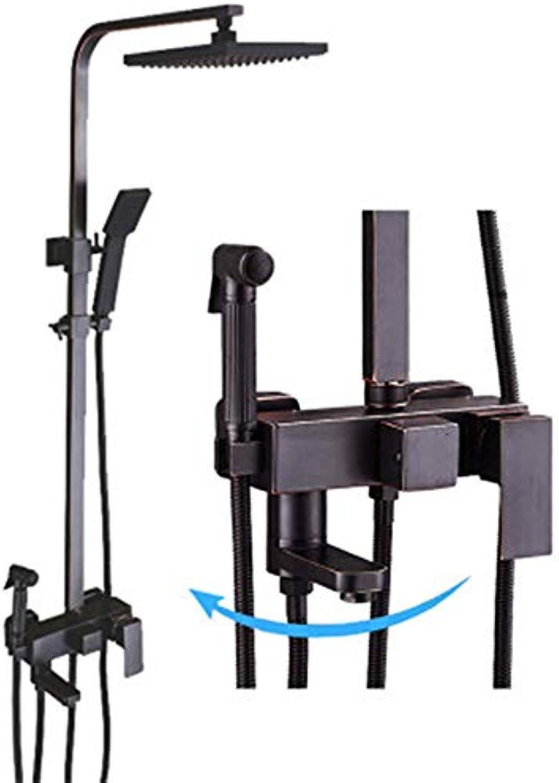 LTAYZ Quadratische Dusche Set Kupfer schwarz Lift Retro Air Booster Handbrause einstellbar Edelstahl