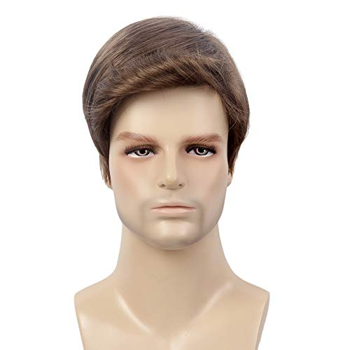 STfantasy Peluca para hombre Rubio Hombre Guy Curly Bang Straight Layered Cosplay Party Hair Toupee Halloween Anime Carnival