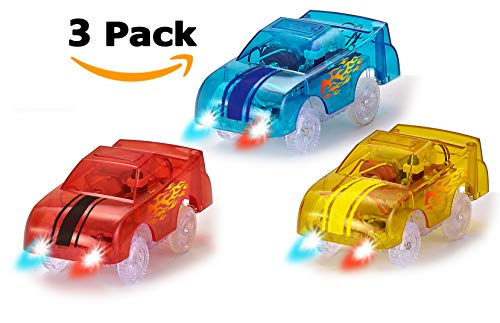 HAPISIMI Track Car 3-Pack, Blue, Red and Yellow Car, with 5 LED Lights, Compatible with Magic Tracks, Neo Twister Tracks