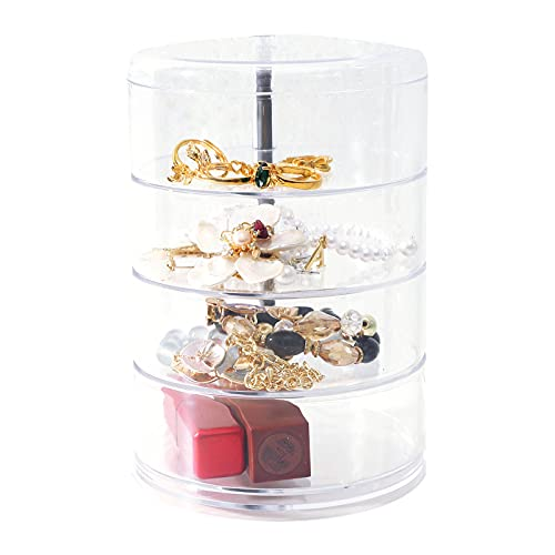 Caja de joyería giratoria de escritorio a prueba de polvo de joyería transparente caja de almacenamiento de joyería caja de vinculación de oro, A