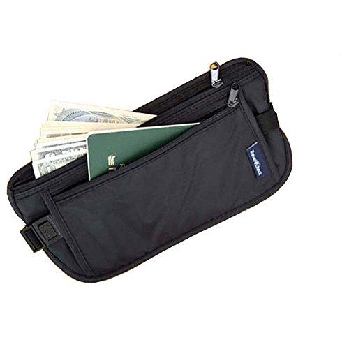 Cinturón Viajero para Dinero;Cinturón Documentos De Viaje Pasaporte. Bolso Tipo Koala Oculto - Negro