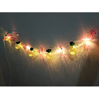5.4Ft Tropical Style Flamingo and Pineapple Fairy String Lights with 10pc LED Lamps Lighting for Christmas Home Wedding Kids Party Indoor Decoration, Battery Powered
