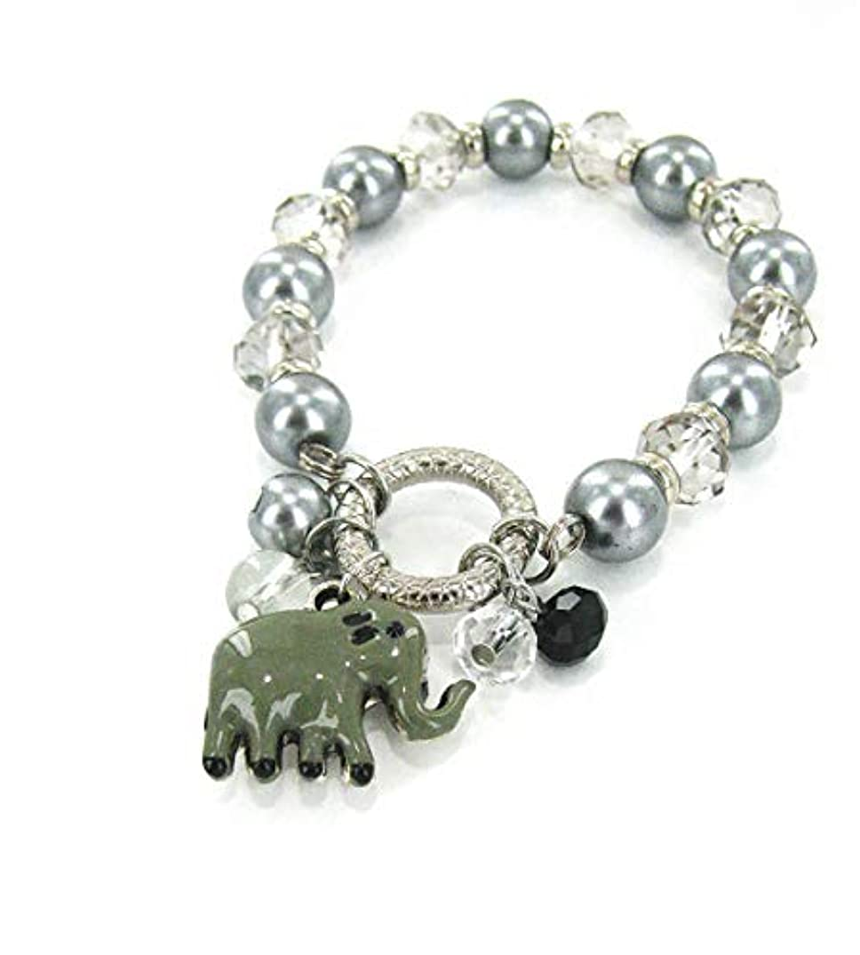 Linpeng BR-2476B Fiona Crystal and Pearl Beads Stretch Bracelet with Dangles, Light Grey/White