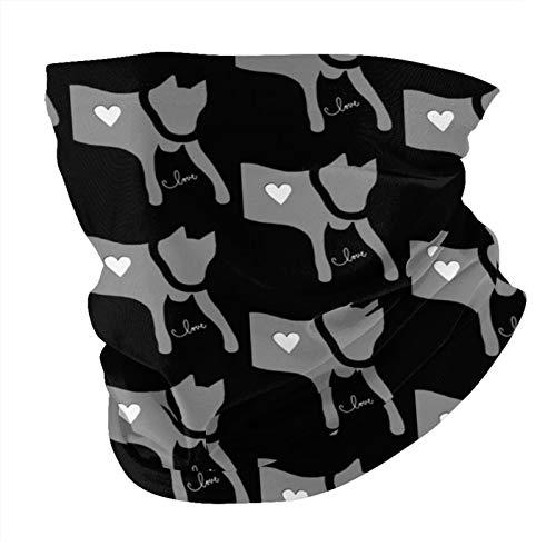 Xinflag@10 Big Love Dog Cat Gris Negro Blanco Transpirable A Prueba De Polvo A Prueba De Viento Protección De La Cara Variedad Bufanda Pasamontañas Bufanda Bandana Polaina
