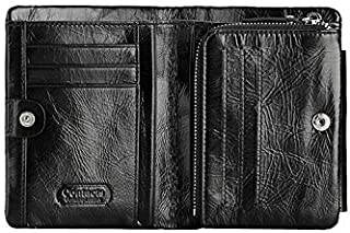 Contacts Men Genuine Leather Wallet Stylish Short Purse Card Pack Three Fold Wallet Money Clip Q801 Black