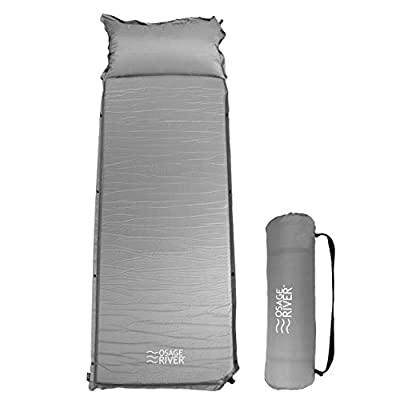 OSAGE RIVER Self Inflating Sleeping Pad for Camping and Backpacking, Lightweight Memory Foam with Pillow, Grey