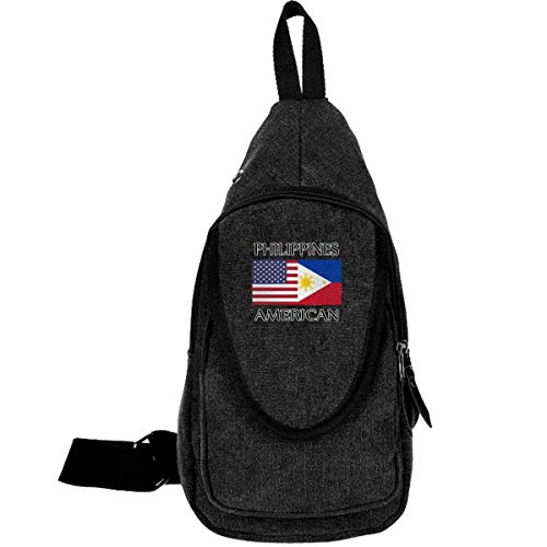 Philippines American Flag Canvas Brusttasche für Camping Wanderrucksack für Männer Frauen moosgrün