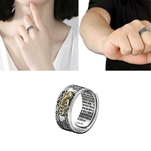 Dergo ☀Ring,Pixiu Charms Ring Feng Shui Amulet Lucky Wealth Buddhist Jewelry Adjustable Ring (A)