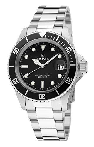 KRONOS- Sport Q 200MTS Black 977.8.55 - Reloj Diver de Caballero de Cuarzo, Brazalete de Acero, Color Esfera: Negra