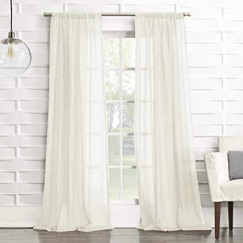 No. 918 Tayla Crushed Texture Semi-Sheer Rod Pocket Curtain Panel, 50' x 63', Cream Off-White