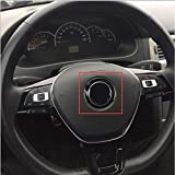 WanTo 45mm R SR Evil Rabbit Wolfsburg G TI Refitting Logo Thin Aluminium Black Sticker Car Styling Emblema Central del Volante para VW, GTI
