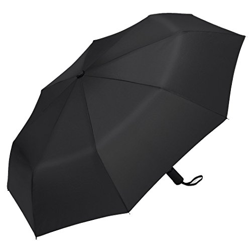 Plemo Auto Open Close Compact Travel Folding Umbrella with Anti-Slip Rubberized Grip, Windproof and Waterproof Portable for Business and Travel (Classic Black)