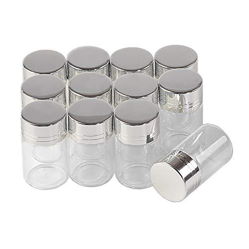 Jarvials 100pcs 5ml Frascos de Vidrio Transparente con Tapa de Aluminio Plateado Tarros Cristal Vacíos Frascos, Mini Botellas Cristal Contenedor de Vidrio