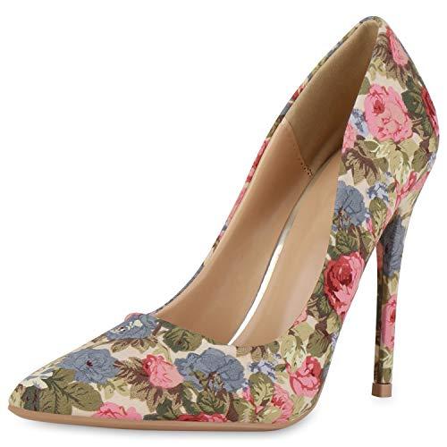 SCARPE VITA Damen Spitze Pumps Stiletto High Heels Party Schuhe Blumen Print Absatzschuhe Modische Abendschuhe 190450 Creme Hellgrün 39