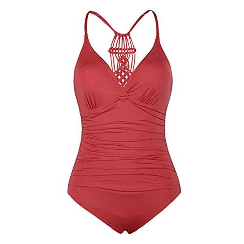 Momoxi Badeanzug Damen Sommer Damen Halfter Einteiler Badeanzüge Braid Macrame Ruched Tummy Control Bademode Bikini