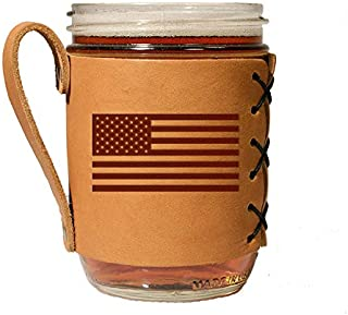 OOWEE: Leather Wide Mouth Mason Jar Holder -Branded American Flag Logo - Proud American Leather Mason Holder with Handle -...