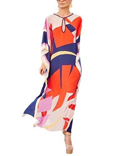 Bsubseach Women Loose Multicolor Colorblock Beach Dress Half Sleeve Long Kaftan Swimsuit Cover Up
