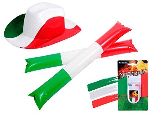 Alsino Italien Fanset FP-35 Fussball Fanartikel Public Viewing Set Hut Schminke Klatschstangen 4tlg