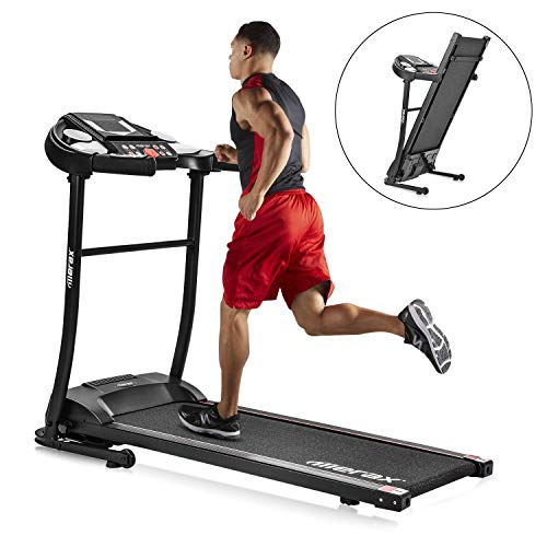 Electric Folding Treadmill, with 8-Stage Damping System, 3 Modes and 12 Automatic Workout Programs, Large LED Touch Display and Wheels, Running Walking Machine for Home Office Gym (Black-) Treadmills
