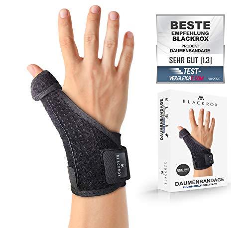 BLACKROX Daumenbandage POLLEXA V1 Daumenstütze für rechts & links arthrose Daumenschiene Sehnenscheidenentzündung one size, zerrungen arthritis daumensattelgelenk daumen handgelenkbandage (Schwarz)