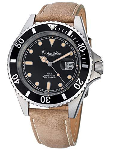 Eichmüller Reloj de buceo para hombre, color marrón, con lupa, indicador de fecha y bisel giratorio, 20 ATM.