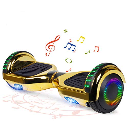 FLYING-ANT Hoverboard with Bluetooth, Self Balancing Electric Scooter 6.5' Two-Wheel Hover Boards with LED Lights for Kids and Adult-A02 BChrome Gold