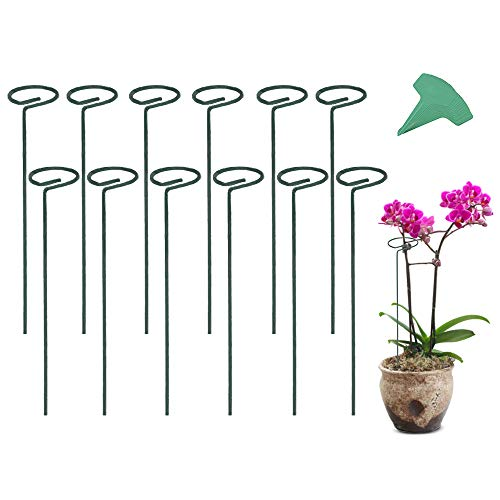 GROWNEER 12 Packs 16 Inches Garden Flower Support Plant Support Stakes, with 15 Pcs Plant Labels,...