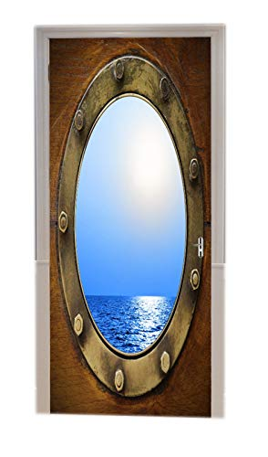 A.Monamour Türtapete Selbstklebend Türfolie Türposter 3D Boot Bullauge Mit Blauem Ozeanblick Bronze Schiffsfenster Vinyl Folie Türdeko Tapete Wandbild Türaufkleber Türtattoo 90 x 200 cm