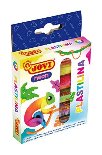 Jovi Bandeja de 6 Pastillas de plastilina, 50 Gramos, Colores Neon (90/6F), Multicolor (1)