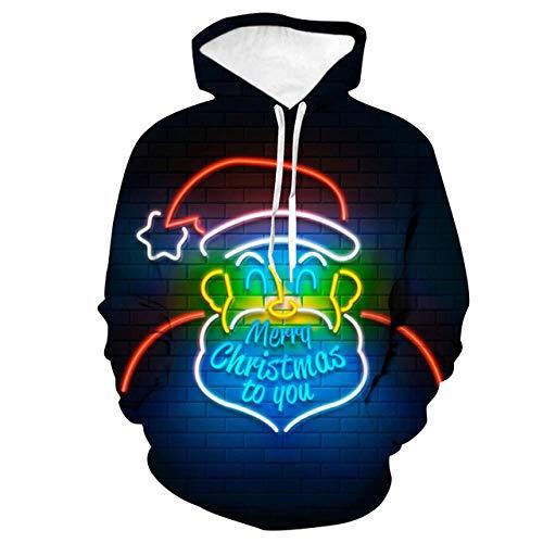 Sweat à Capuche 3D Imprimer Pull Sweatshirt,Loose Couple Shirt Shirt, vêtements de Baseball, Santa Mignon, M,Décontracté Pullover pour Garçon Fille Ado