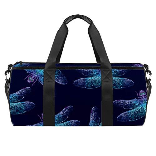 LAZEN Hombro Handy Sports Gym Bags Travel Duffle Totes Bag para Hombres Mujeres Libélula Insecto Azul Marino