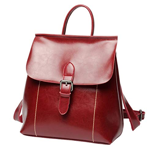 Luufan Vintage Oil Wax Leather Backpack School Bag Casual Travel Daypack for Women Girls (Red)