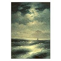 IvanAivazovsky《月光による海の眺め》キャンバスアートペインティングアートワークポスター写真壁の装飾家の室内装飾60x90CMフレームなし
