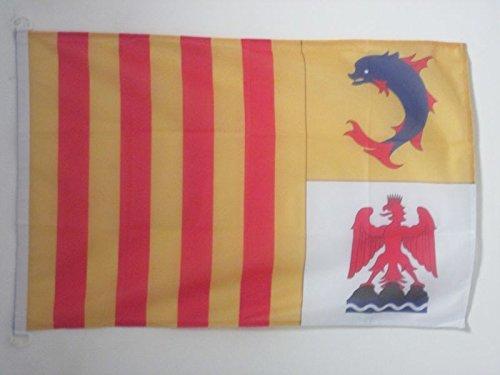 AZ FLAG Bandera Nautica de PROVENZA-Alpes-Costa Azul 45x30cm - Pabellón de conveniencia DE Provence-Alpes-CÔTE D'AZUR - Francia 30 x 45 cm Anillos