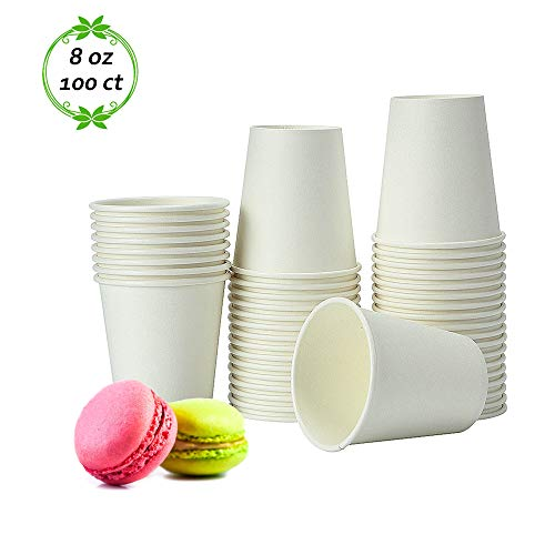 TashiLiving [100 Pack-8oz]Paper Coffee Cups - Disposable Tea & Hot Chocolate cups to go, White