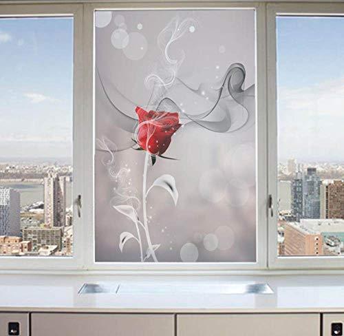 TFOOD raamfolie, raamfolie-esthetische rozenbloesemrode plant statisch frosted aftrekafbeelding opaak glasdecoratie zelfklevende UV-bescherming voor keuken badkamer woonkamer