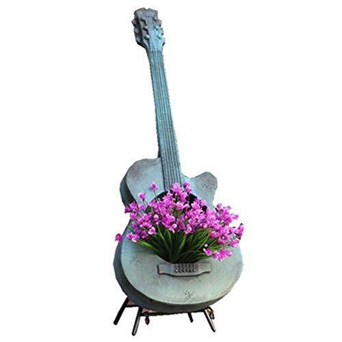 Home Decoration Sculpture Flower Pot Garden Violin Flowerpot Decoration Retro Country Courtyard Balcony Floor Outdoors Decoration (Color : Blue)