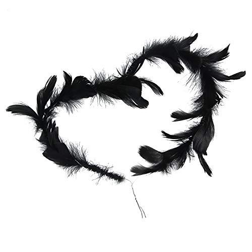 qhtongliuhewu - Decoración para tarta con forma de corazón y plumas, 98 cm (aprox.) negro
