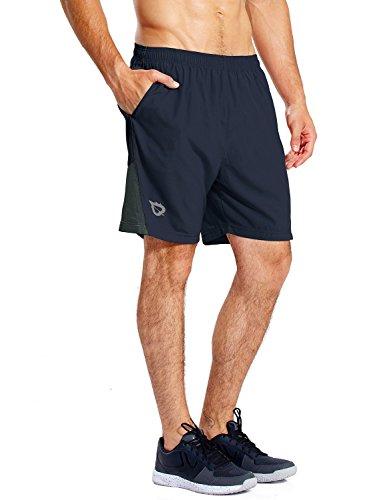 BALEAF Herren Laufshorts Trainingsshorts Kurz Schnelltrocknend Innenslip mit Reißverschlusstaschen Blau L