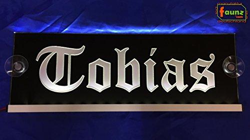 """LED LKW Truck Leuchtschild Namensschild """"Tobias"""" warmweiß auf schwarz oder Ihr Wunschname in wählbarer Farbkombination in Altdeutsch Frakturschrift als hochwertige Plexiglas-Gravur 12/24V ©faunz"""