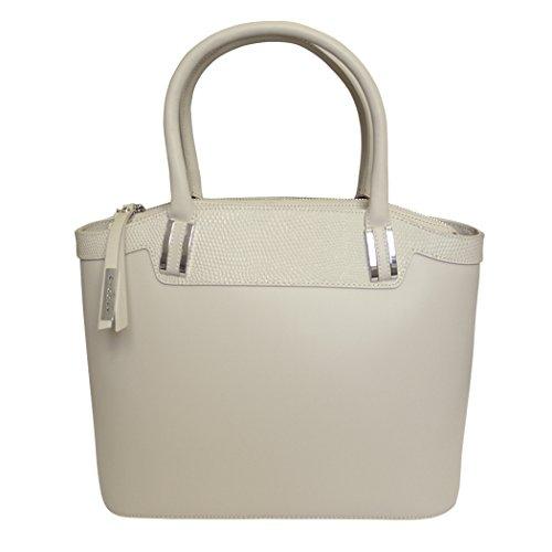 Nicoli 'Eleganza' borsa da sposa designer italiano tote in pelle - Crema