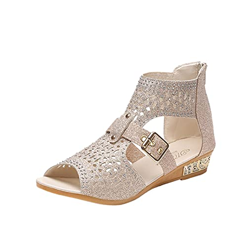 FAMOORE Sandals For Women Wide Width Women's Ladies Fashion Vintage Crystal Outdoor Hollow Out Zip Up Sandals Shoes White 9
