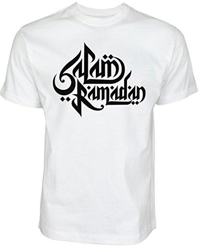 Salam Ramadan | ISLAMISCHE Streetwear Kleidung FÜR Muslime T Shirt BEDRUCK Outdoor Islam Fashion (L, Weiß)